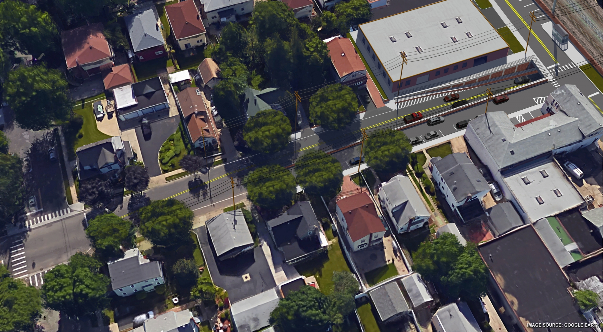 "<span class=""crossing tag""/>Illustrative Rendering of Covert Avenue Crossing (Aerial View)"