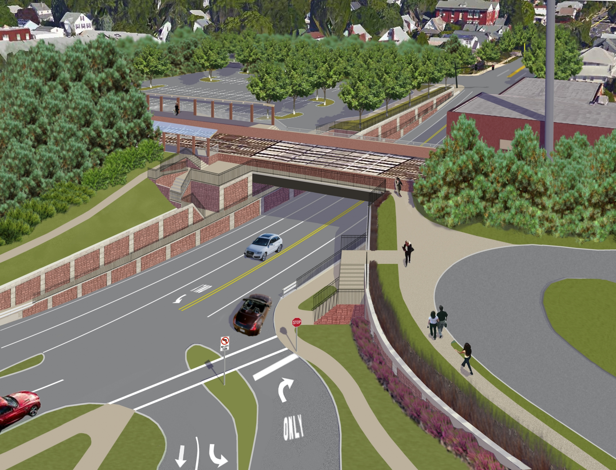 "<span class=""crossing tag""></span>Illustrative Rendering of New Hyde Park Road Crossing (Alternative 1)"
