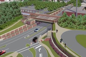 "<span class=""crossing tag""/>Illustrative Rendering of New Hyde Park Road Crossing (Alternative 1)"