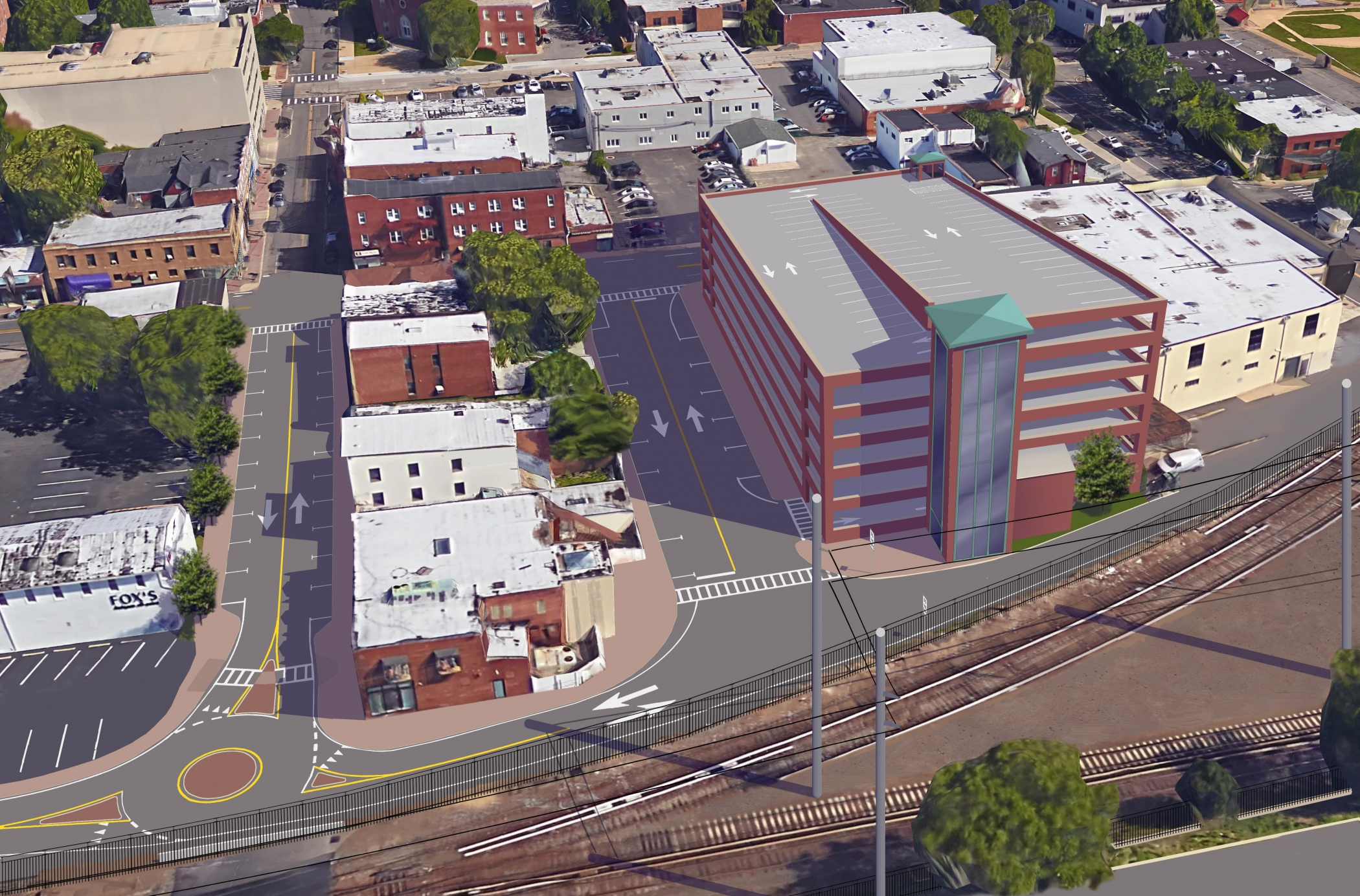 """<span class=""""parking tag""""/>Illustrative Rendering of Mineola Parking Garage (2nd Street)"""