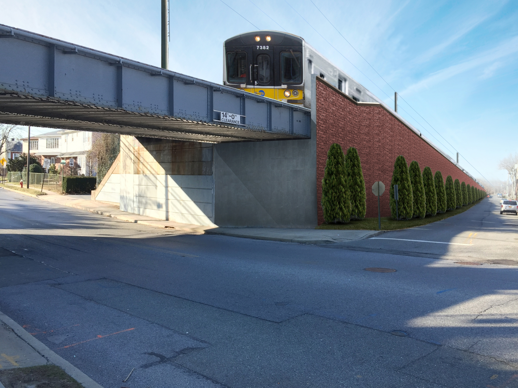 """<span class=""""noise tag""""/>Illustrative Rendering of Sound Attenuation Wall - Atlantic Avenue, Carle Place"""