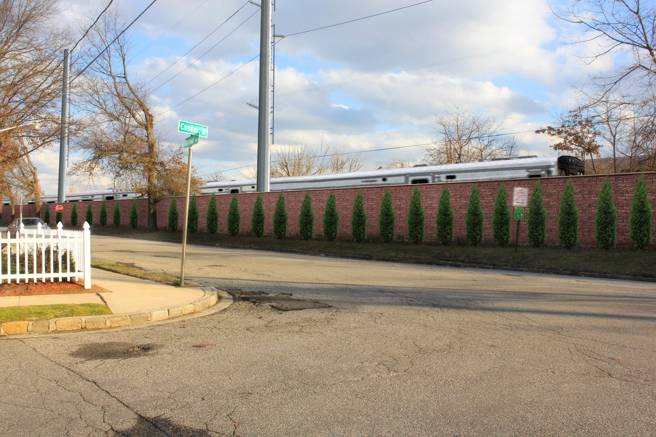 """<span class=""""noise tag""""/>Illustrative Rendering of Sound Attenuation Wall - Costar Street, Westbury"""