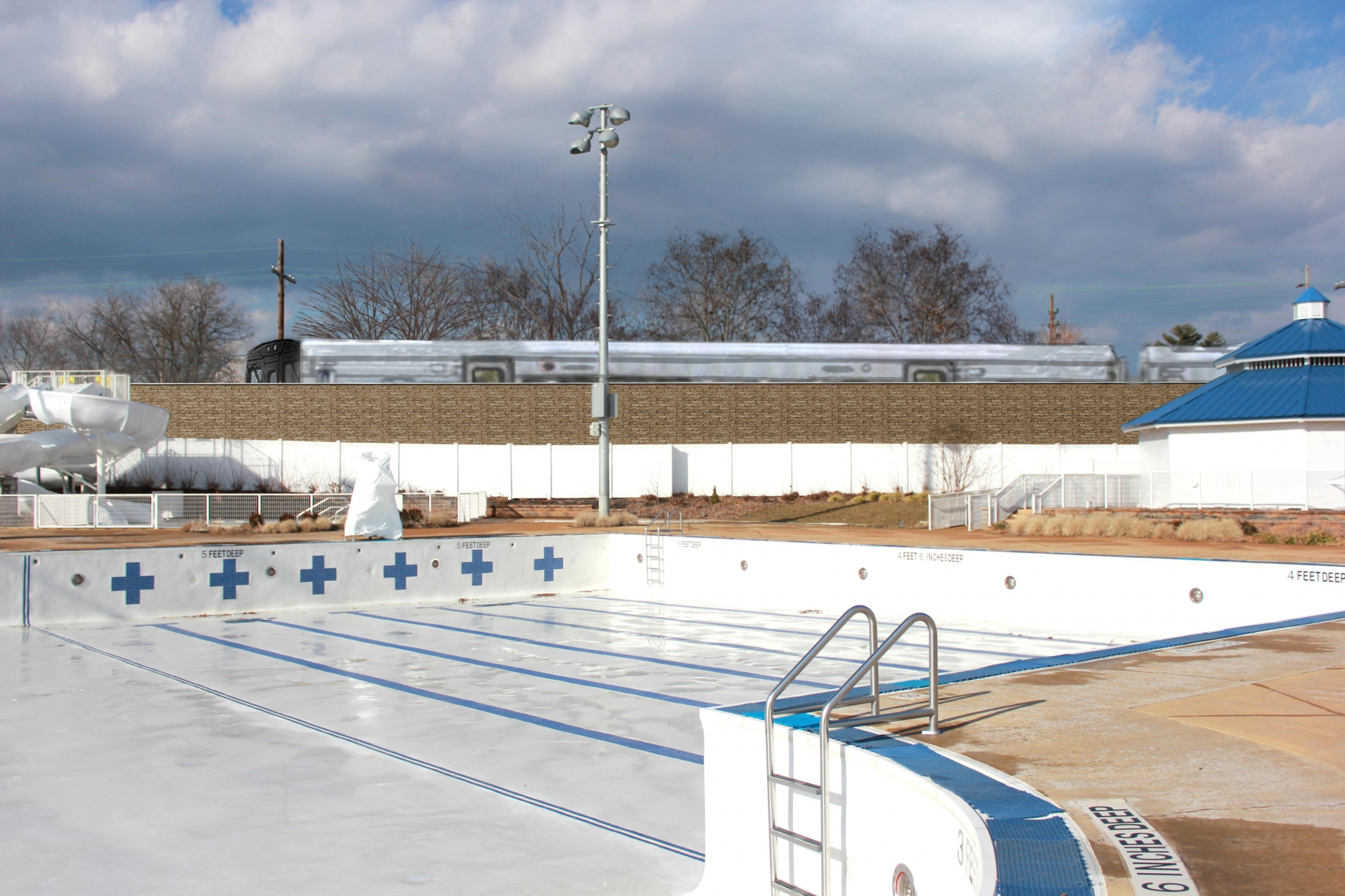 "<span class=""noise tag""/>Illustrative Rendering of Sound Attenuation Wall - Floral Park Recreation Center"