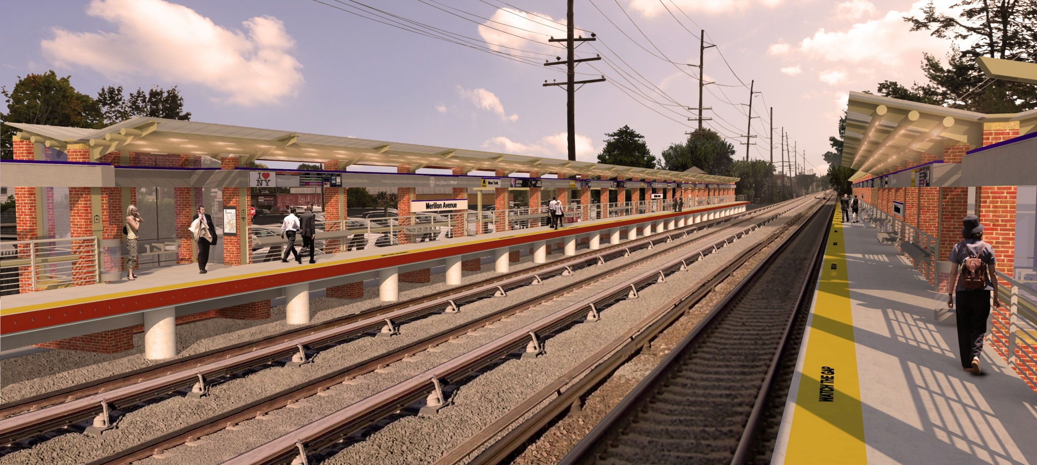 "<span class=""station tag""/>Illustrative Rendering of Merillon Avenue Station Improvements (Platform View)"