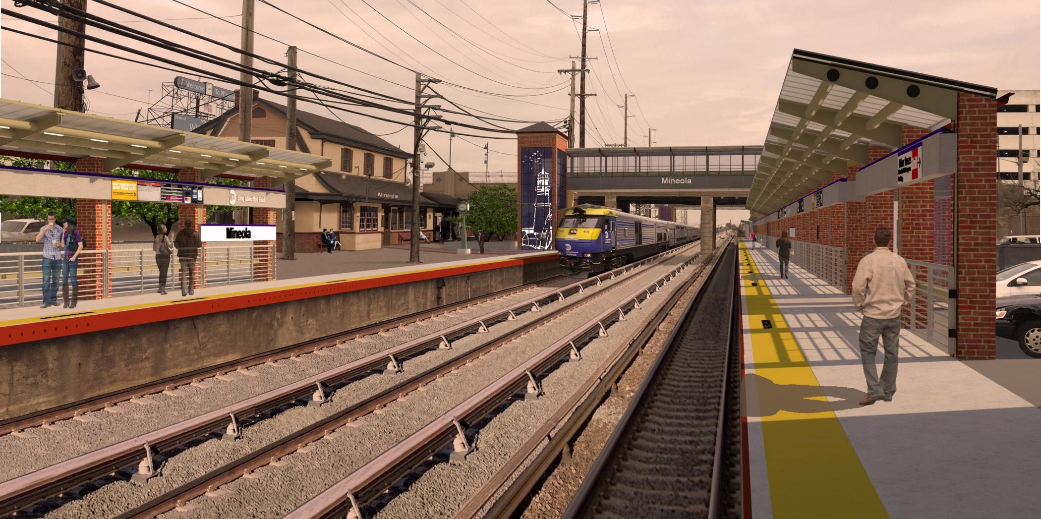 "<span class=""station tag""/>Illustrative Rendering of Mineola Station Improvements (Platform View)"