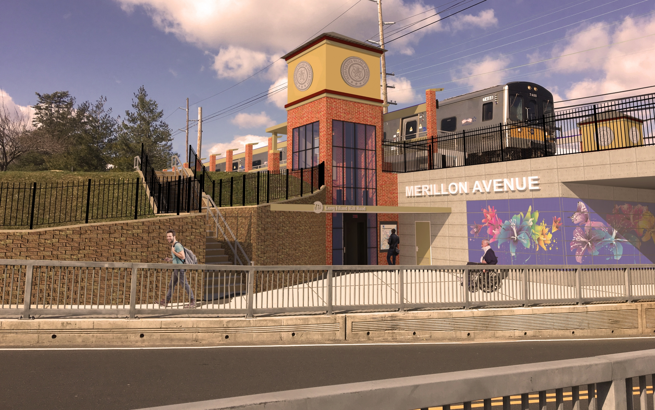 "<span class=""station tag""/>Illustrative Rendering of Merillon Avenue Station Improvements (Nassau Boulevard View)"