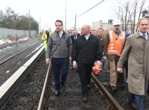 Governor Cuomo (left) and MTA Chief Development Officer Janno Lieber  (right) tour Double Track project in Deer Park 01-12-2018