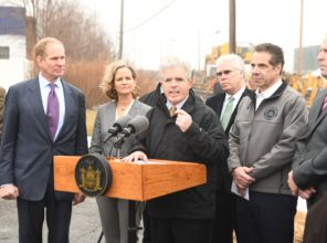 Suffolk County Executive Steven Bellone speaks at Double Track Project  milestone event 01-12-2018