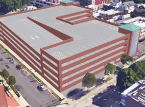Aerial view of location and footprint of Mineola Harrison Avenue Parking Garage