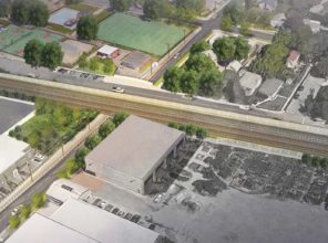 Urban Avenue Grade Crossing - Aerial View (Rendering)