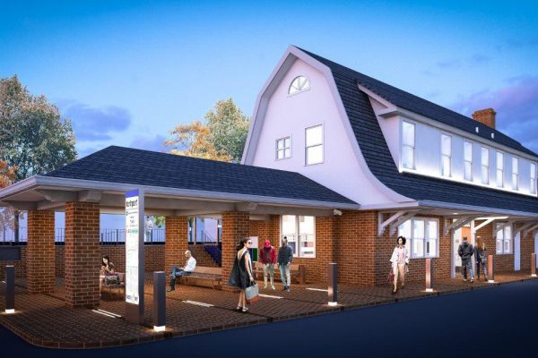 Rendering of reconstructed Northport station house.