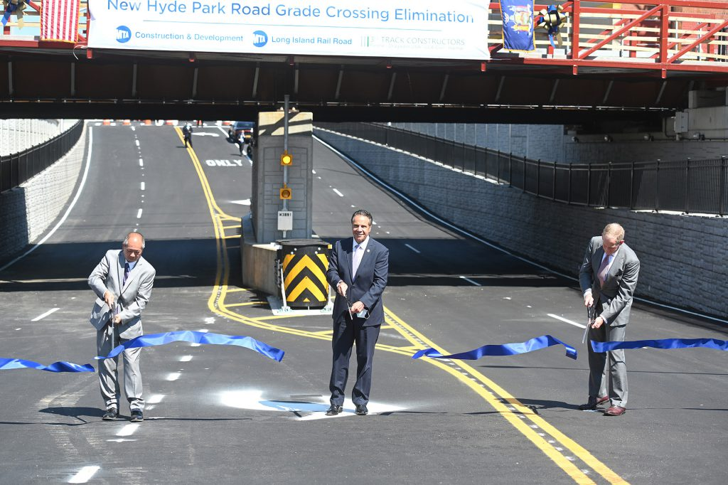 Governor Cuomo Cuts Ribbon on LIRR Overpass Which Eleiminates a Grade Crossing in Garden City 08-24-20