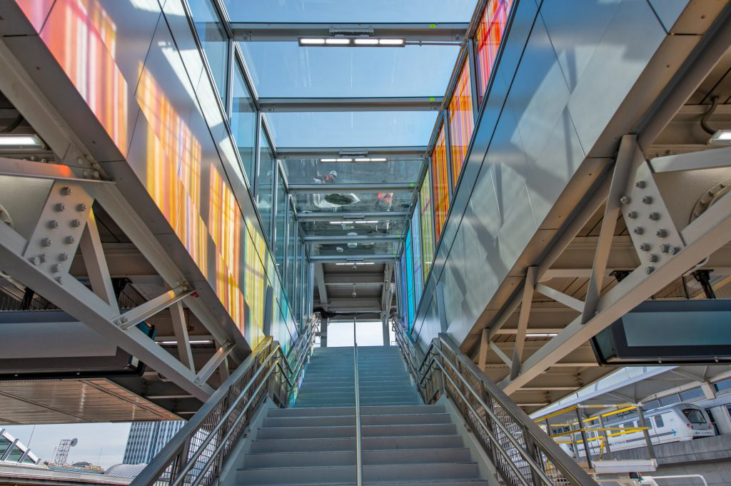 Platform F stairway with glass artwork